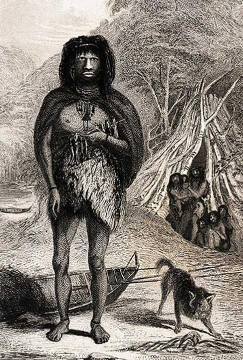 Native from Tierra del Fuego, drawn by Conrad Martens, artist on board of the Beagle, 1833.