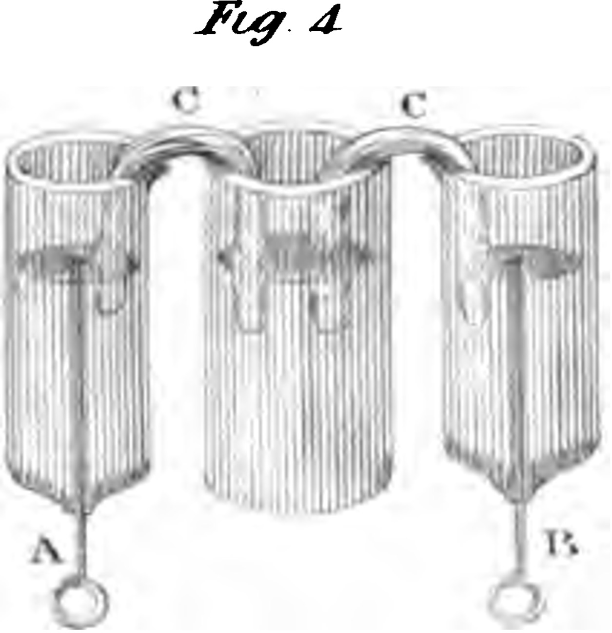 """Drawing of Davy´s experimental arrangement with three glass tubes for the study """"On the Passage of Acids, Alkalies, and other Substances through various attracting chemical Menstrua, by Means of Electricity"""". It shows three glass tubes with platina wires as poles in the two outer tubes A and B, which communicate with the middle tube by strips of amianthus C (i.e. a fine silky asbestos), wetted with distilled water. The experiments are described in the text. It clearly confirms the migration of ions by electrophoresis."""
